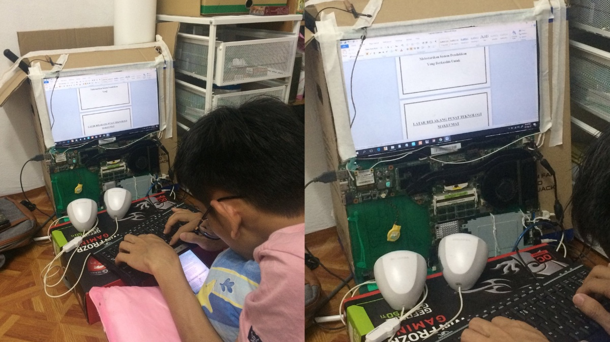 The student proved that even with a broken laptop you can still do well in school. [Image Credit: Herman Jalani / Twitter]